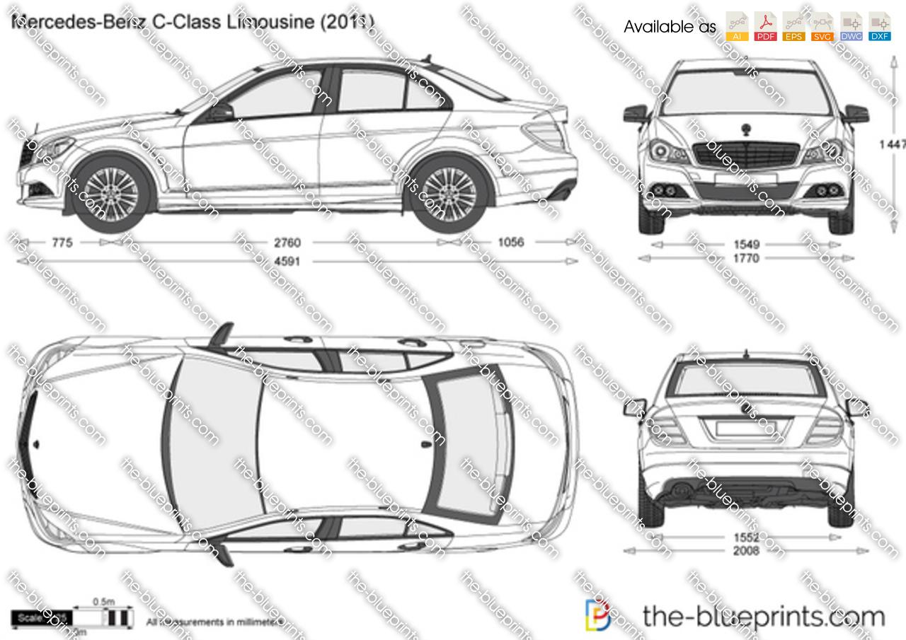 Mercedes Benz C Class Limousine W204 Vector Drawing