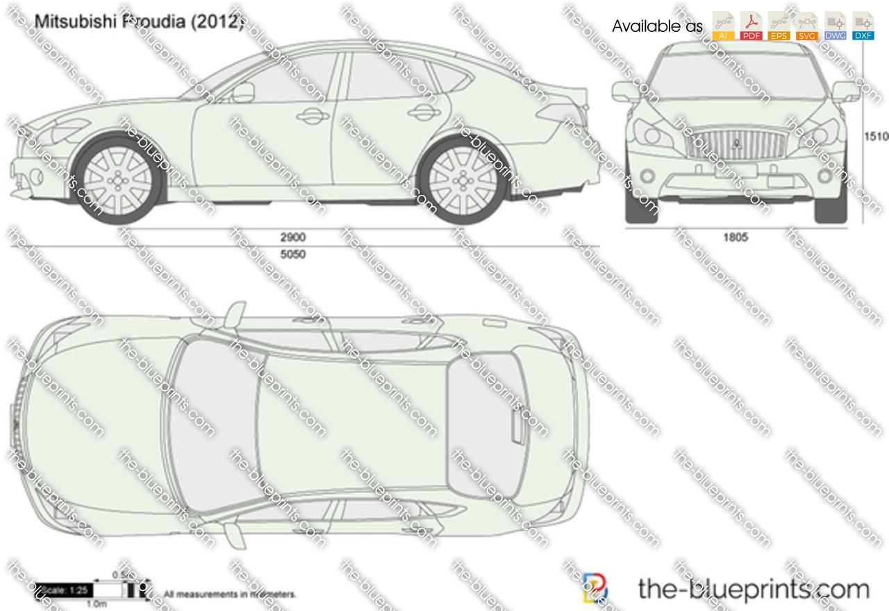 Mitsubishi Proudia Vector Drawing