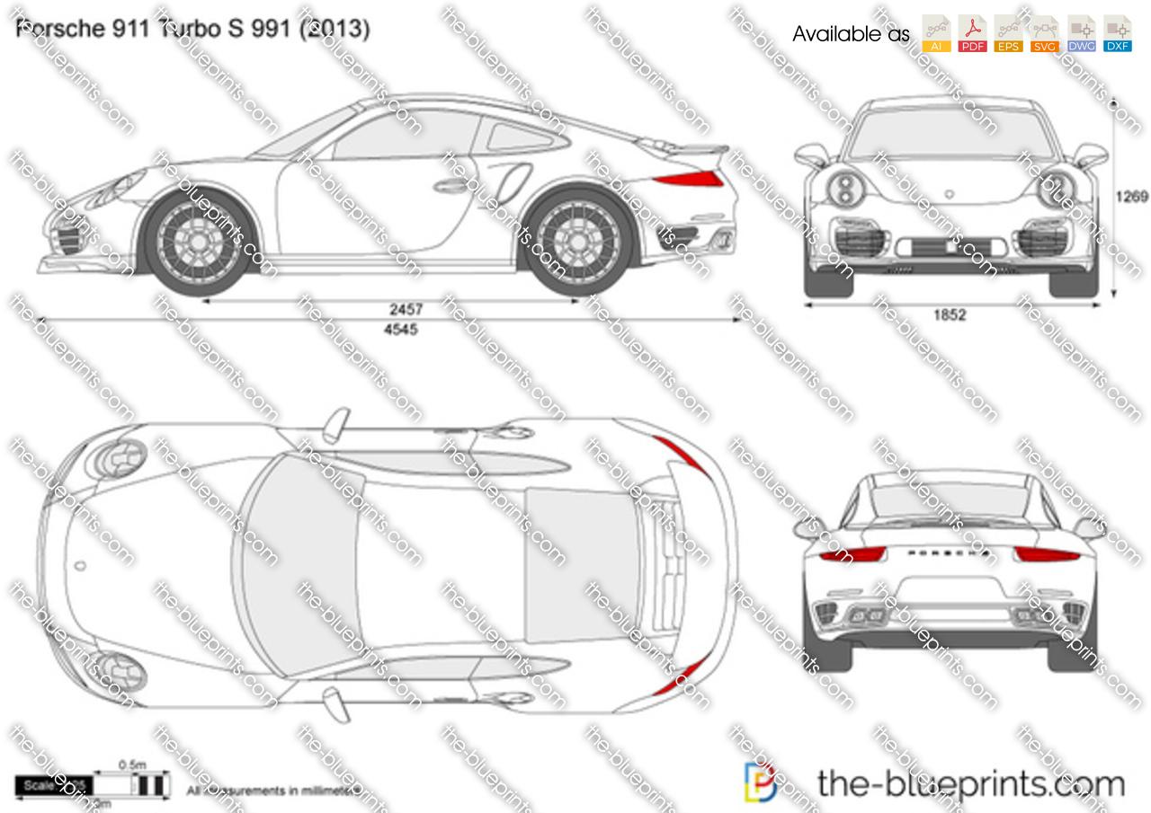 Porsche 911 Turbo S 991 Vector Drawing