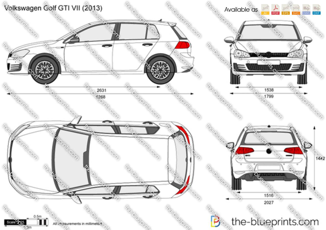 Volkswagen Golf Gti Vii Vector Drawing