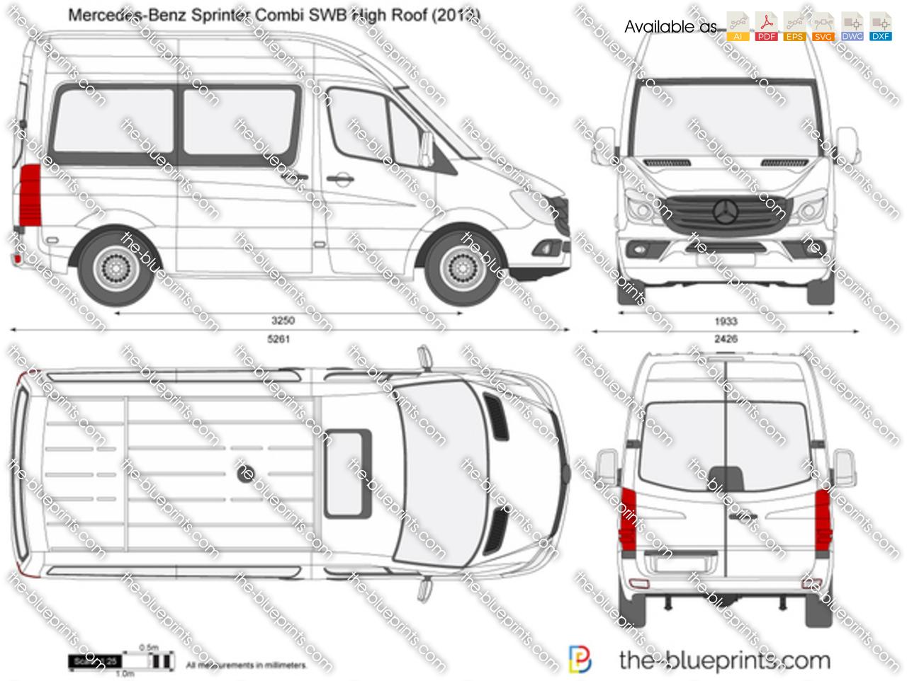 Mercedes Benz Sprinter Combi Swb High Roof Vector Drawing
