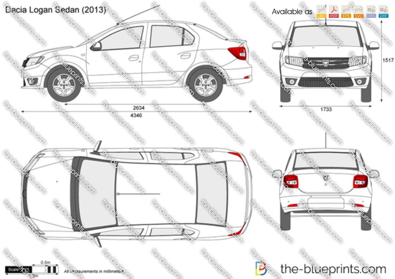 Dacia Logan Sedan Vector Drawing