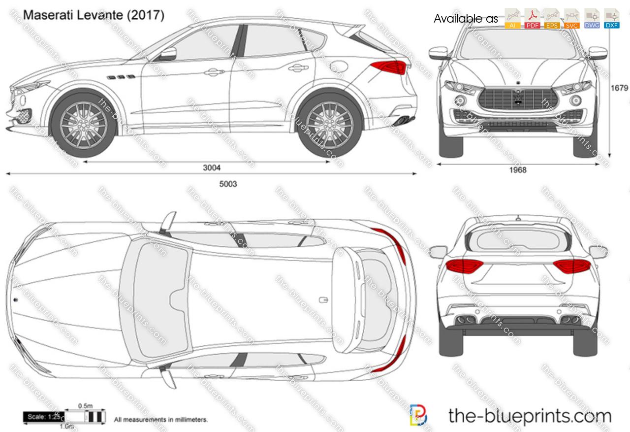 Maserati Levante Vector Drawing