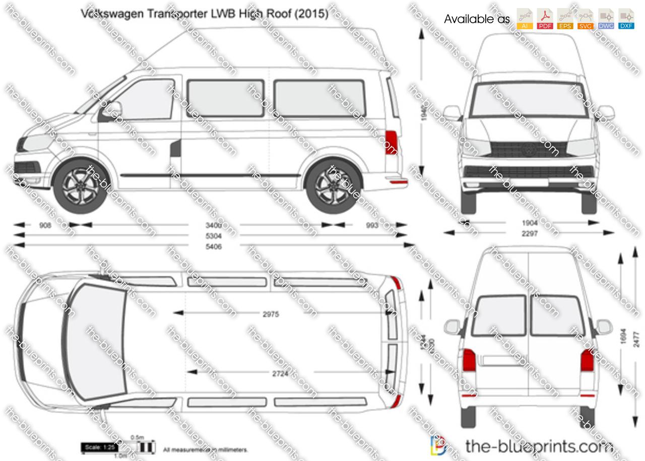 Volkswagen Transporter T6 Lwb High Roof Vector Drawing