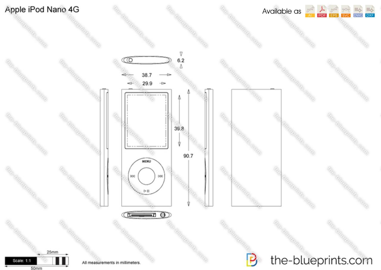 Apple Ipod Nano 4g Vector Drawing