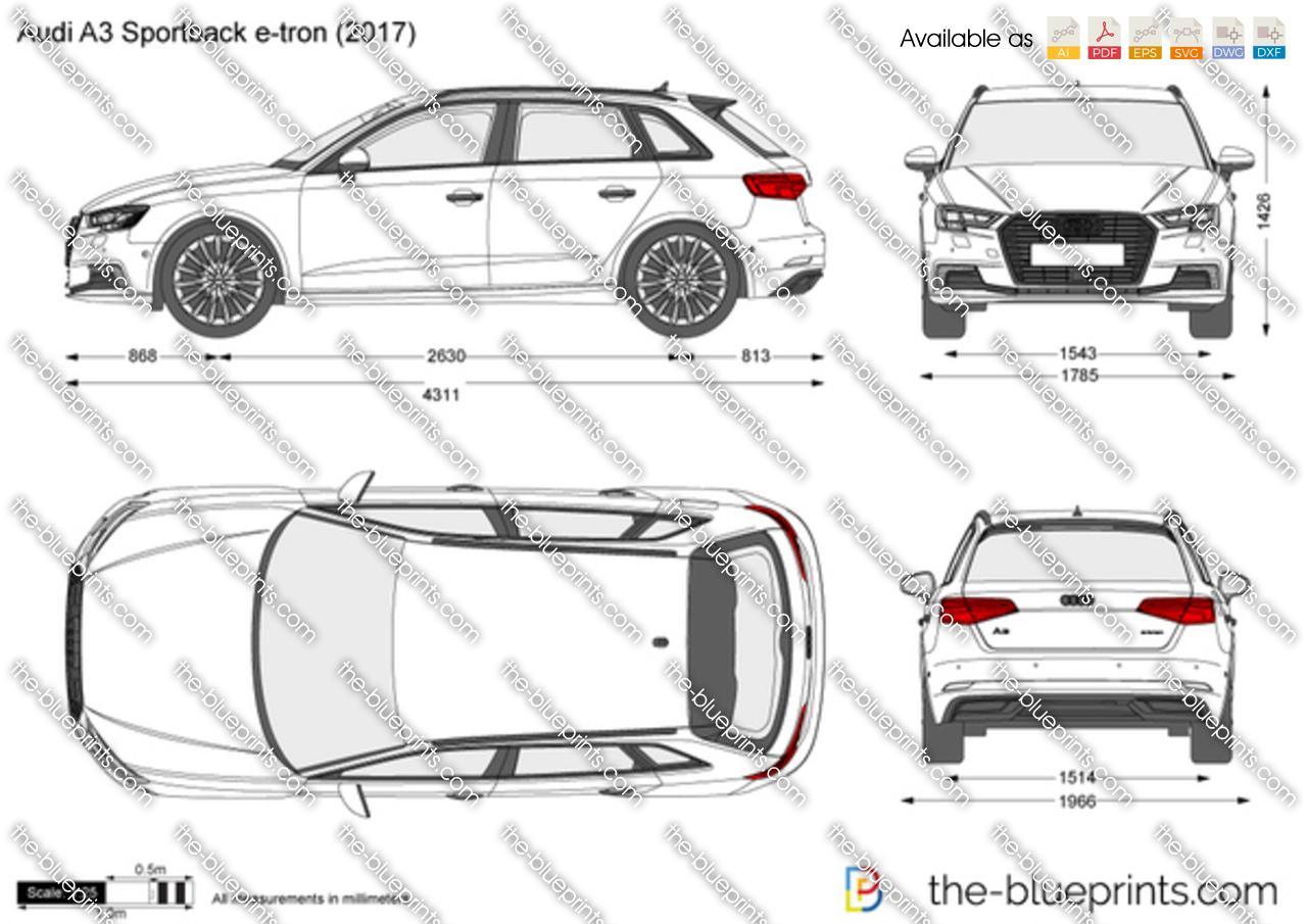Audi A3 Sportback E Tron Vector Drawing