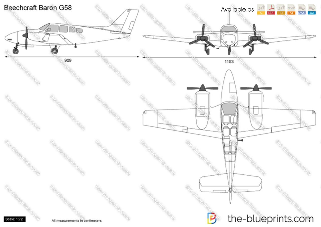 Beechcraft Baron G58 Vector Drawing