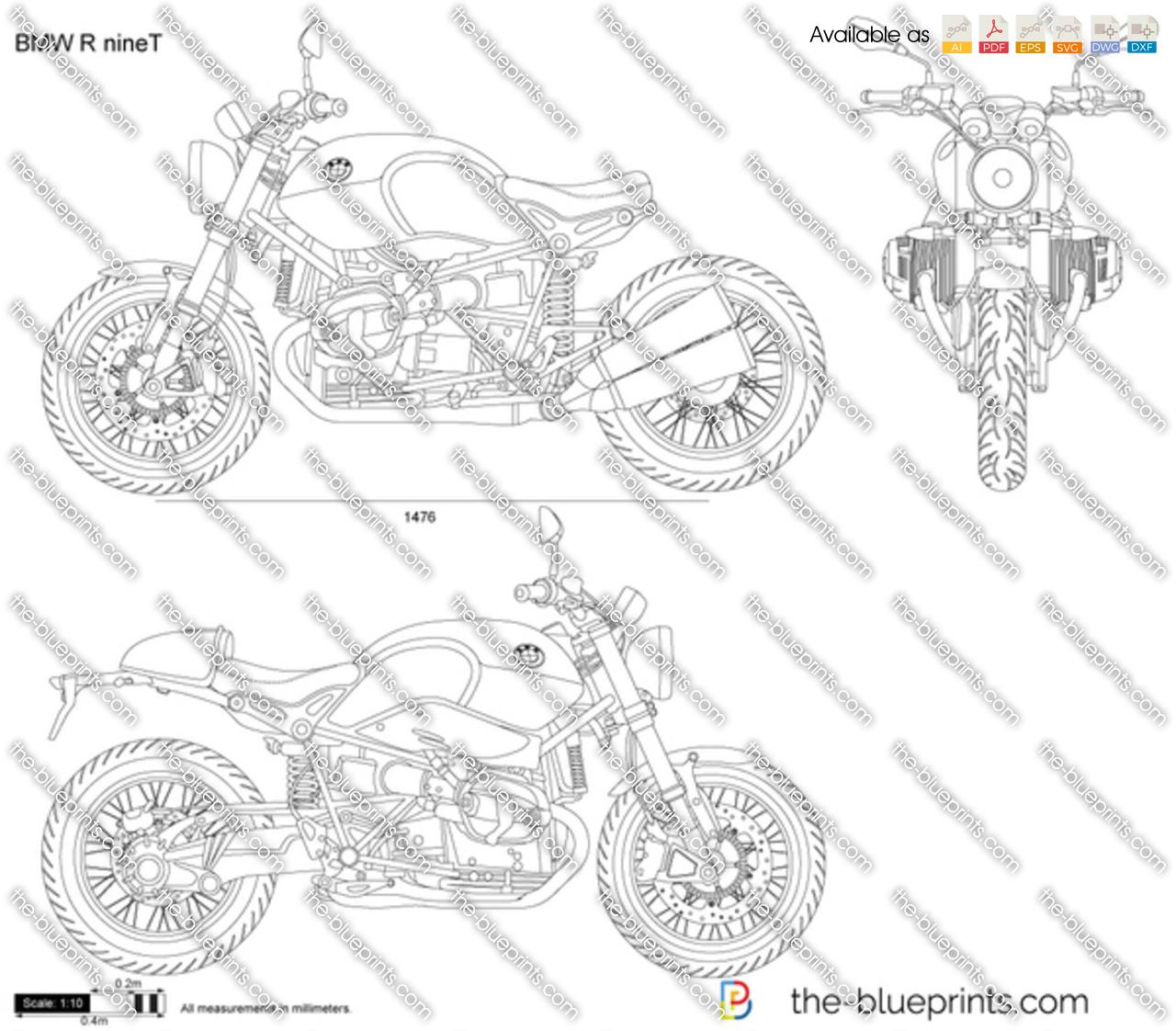 Bmw R Ninet Vector Drawing