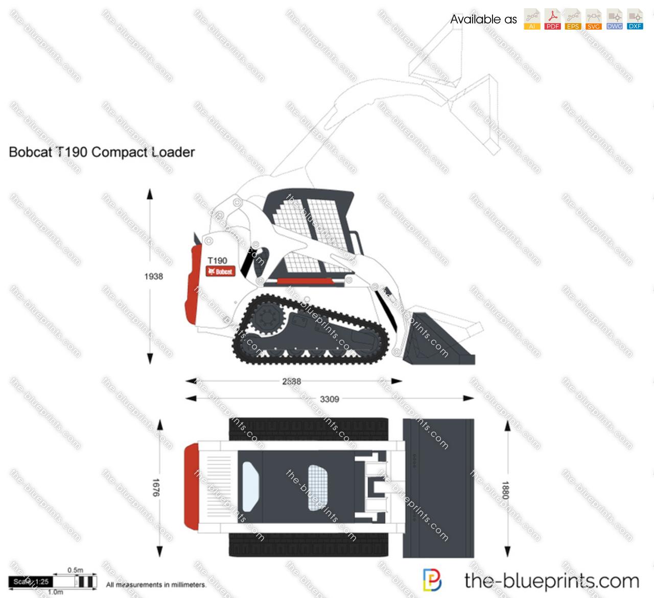 Bobcat T190 Compact Loader Vector Drawing