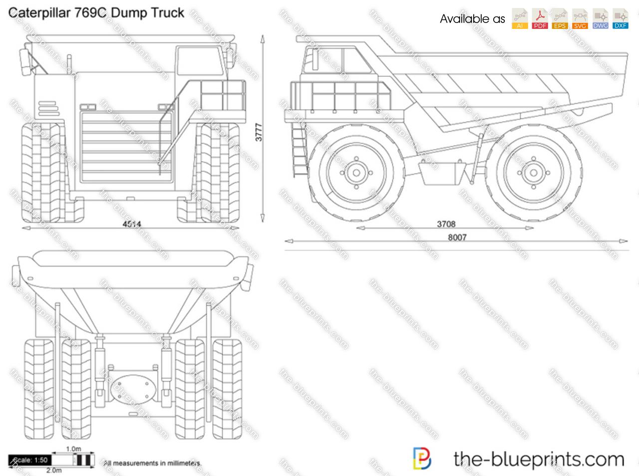 Caterpillar 769c Dump Truck Vector Drawing