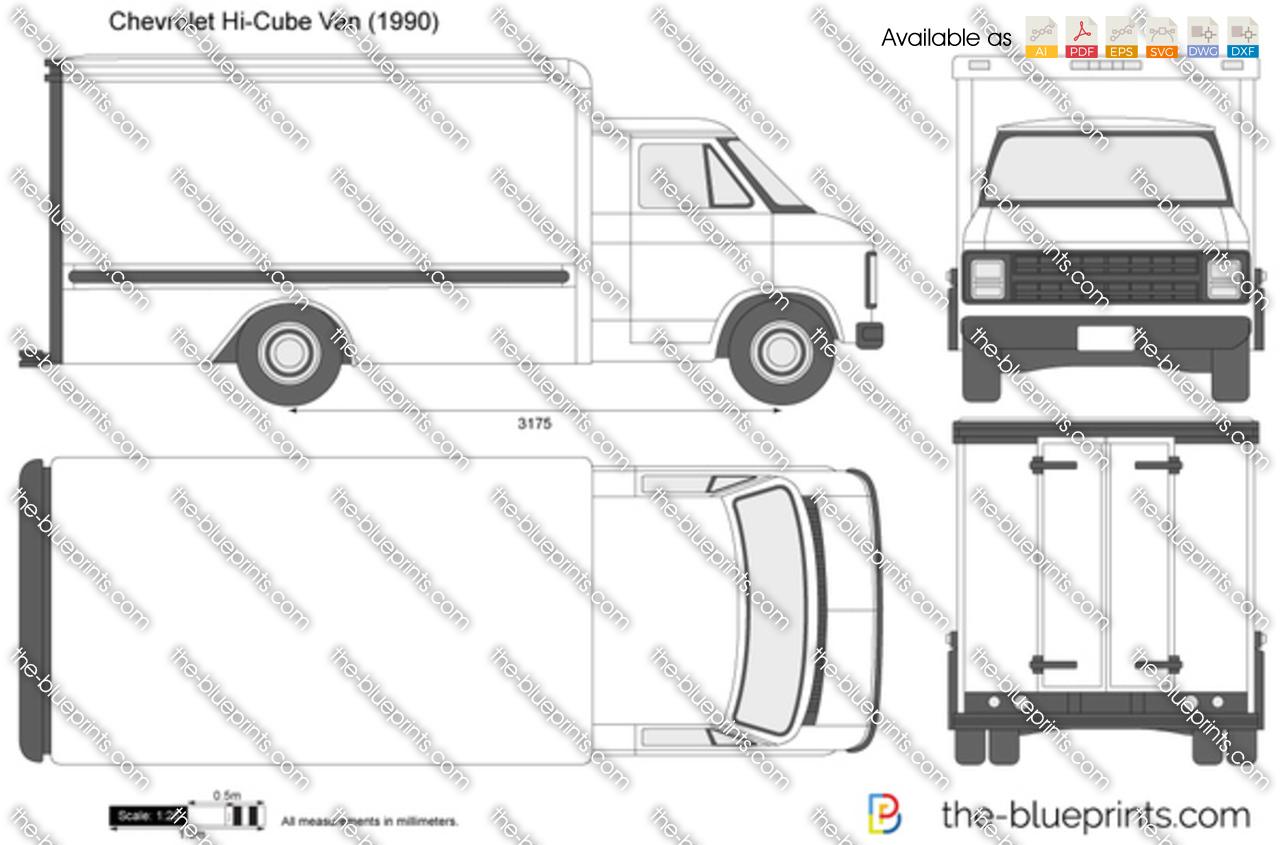 Chevrolet Express Hi Cube Van Vector Drawing