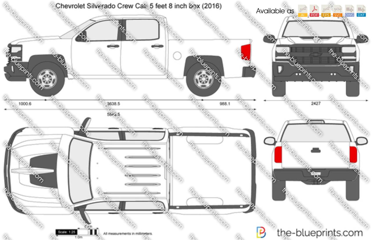 Chevrolet Silverado Crew Cab 5 Feet 8 Inch Box Vector Drawing