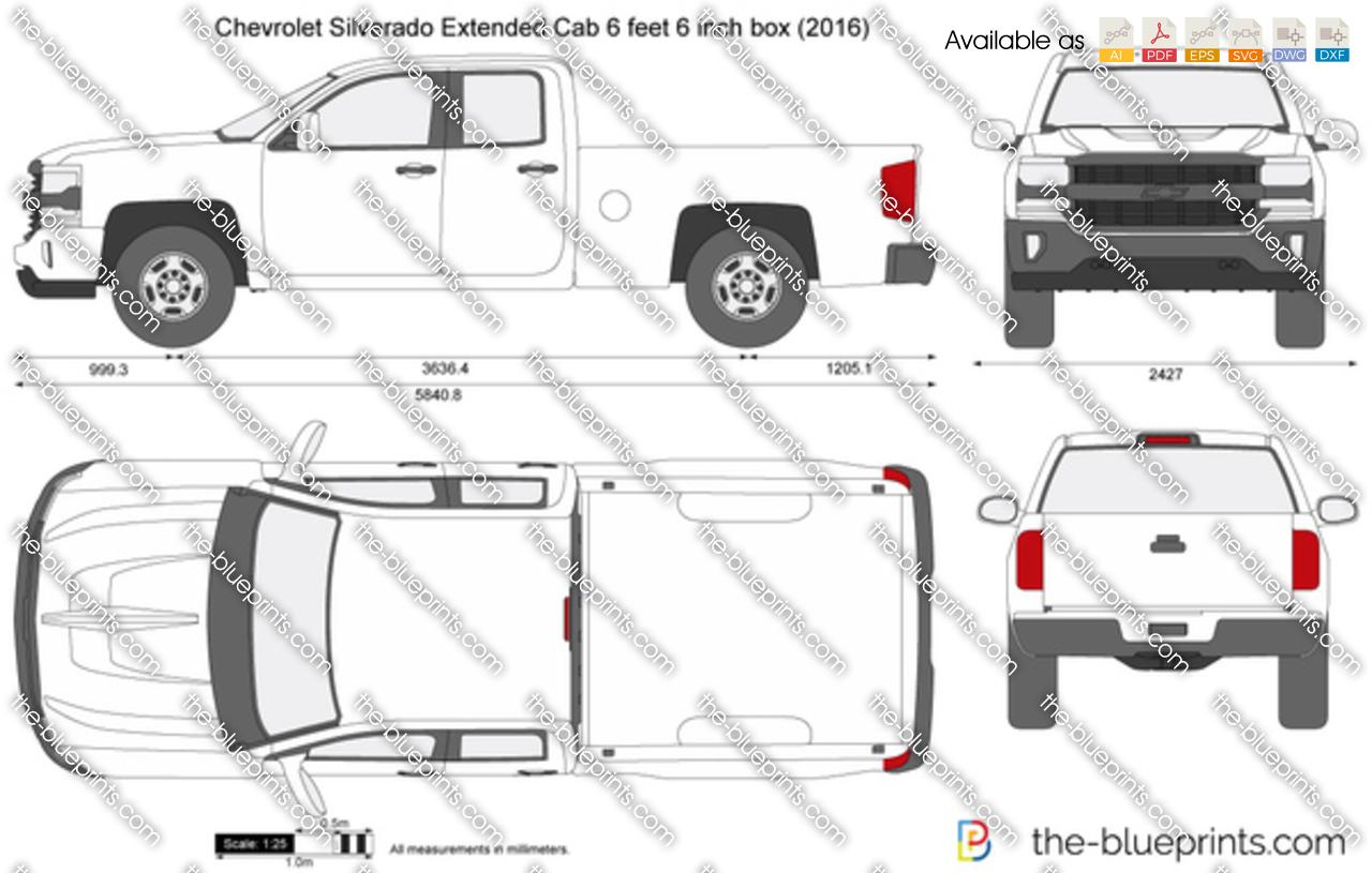 Chevrolet Silverado Extended Cab 6 Feet 6 Inch Box Vector