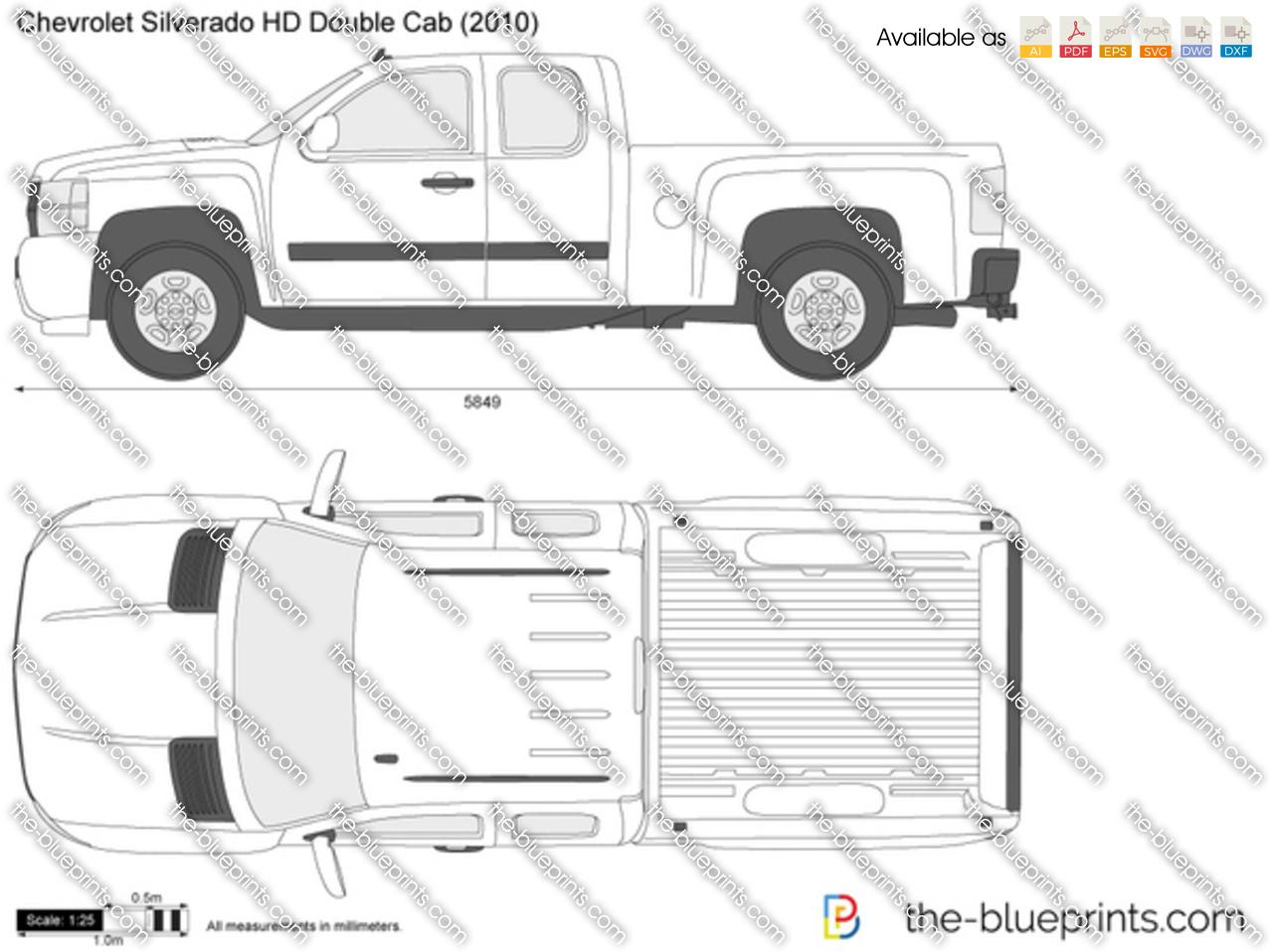 Chevrolet Silverado Hd Double Cab Vector Drawing