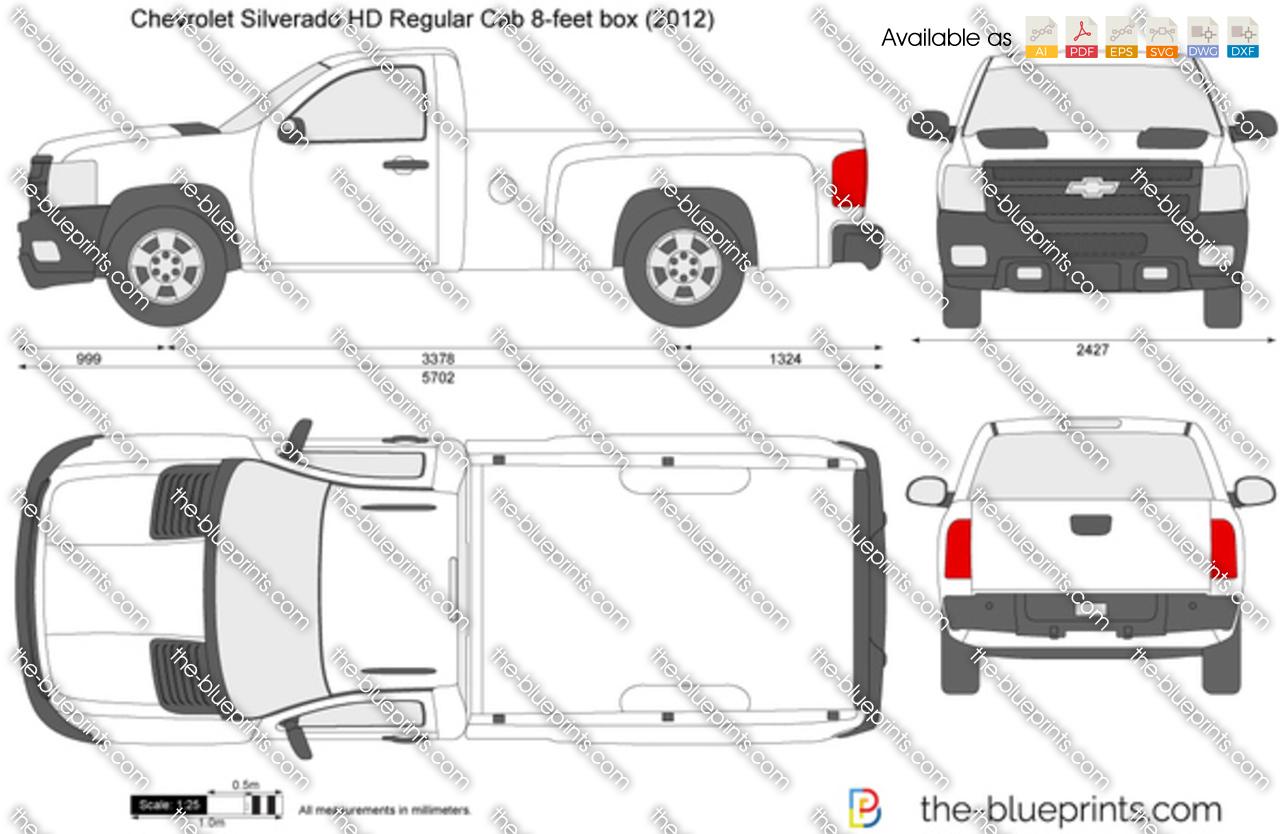 Chevrolet Silverado Hd Regular Cab 8 Feet Box Vector Drawing