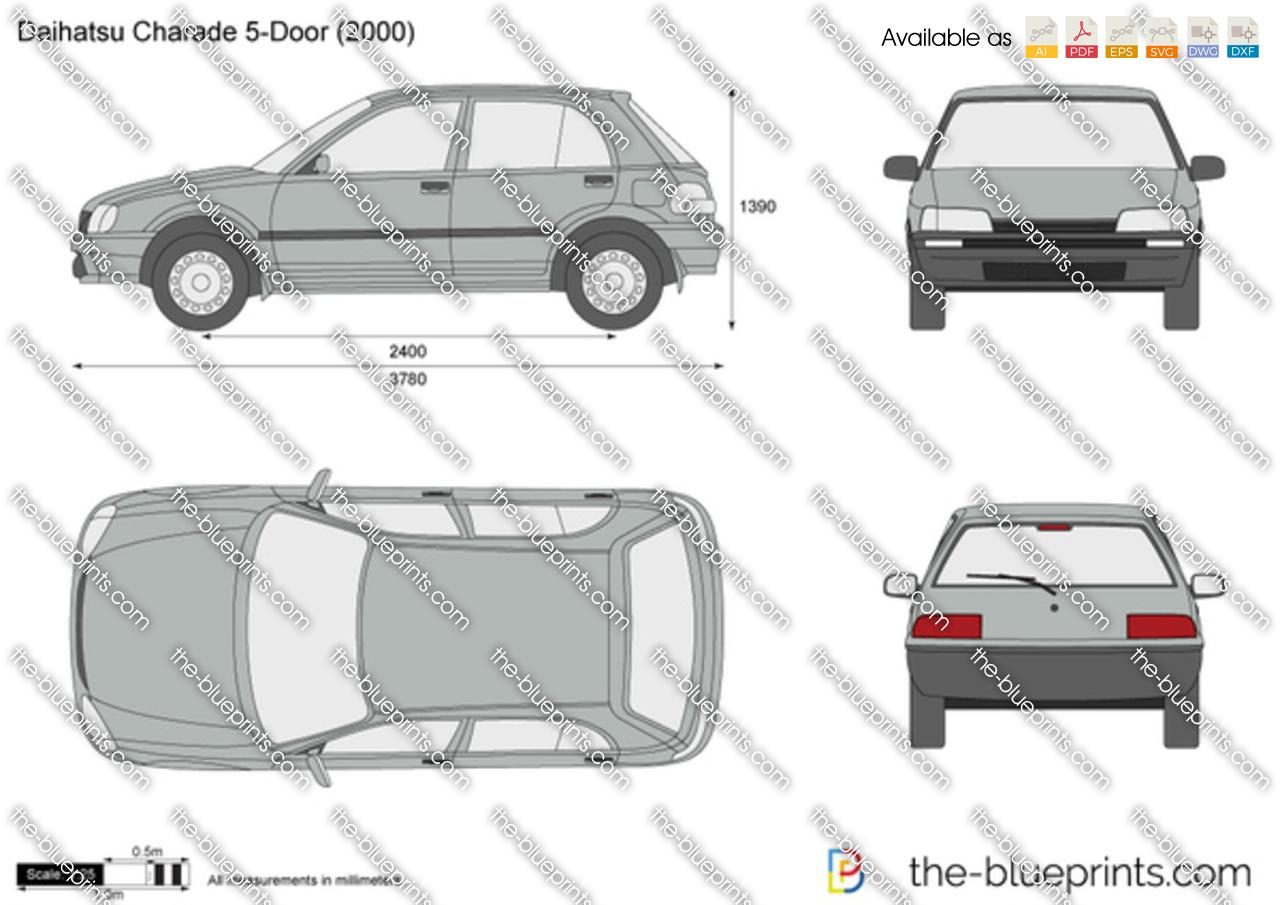 Daihatsu Charade 5 Door Vector Drawing