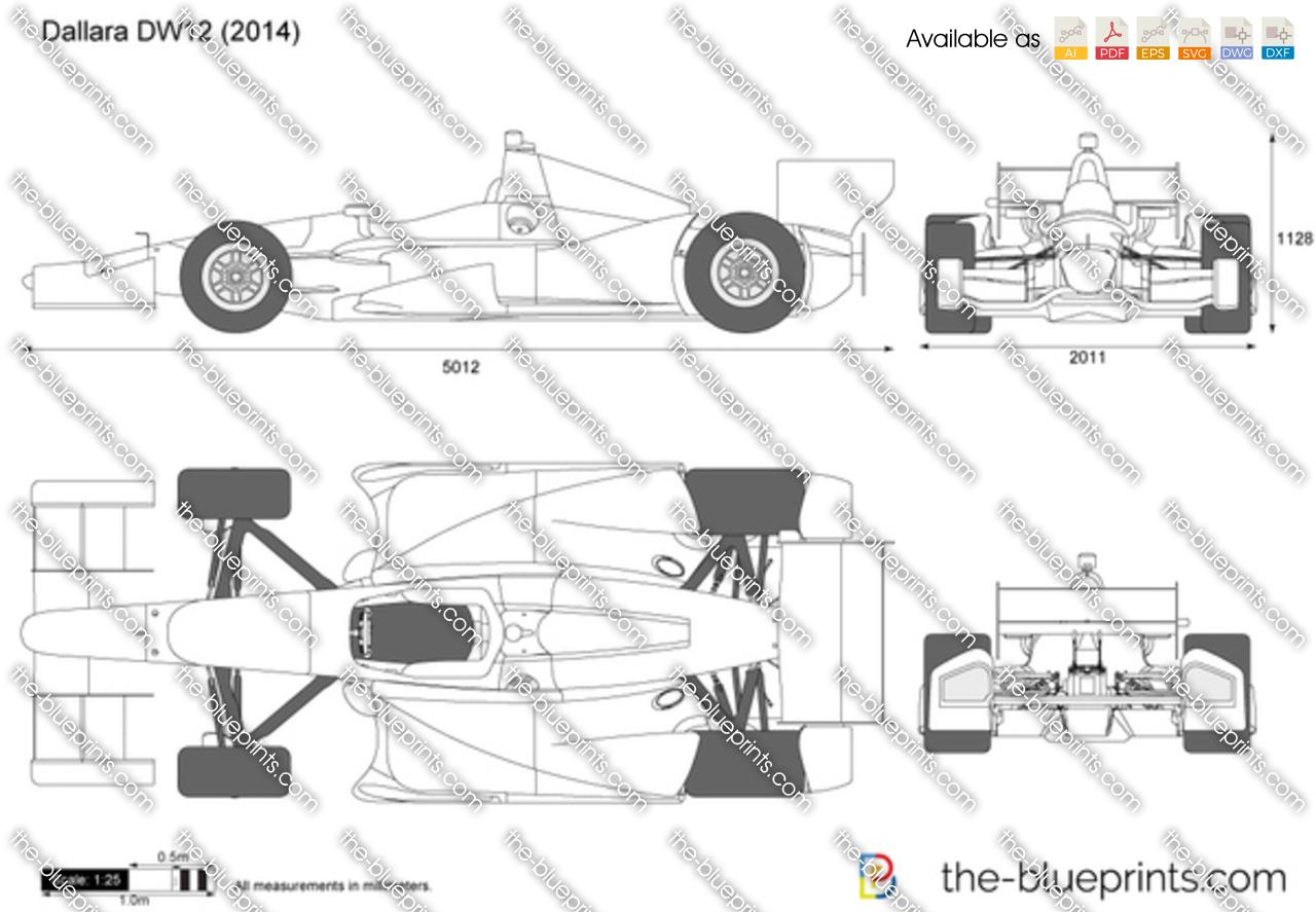 Dallara Dw12 Indycar Vector Drawing