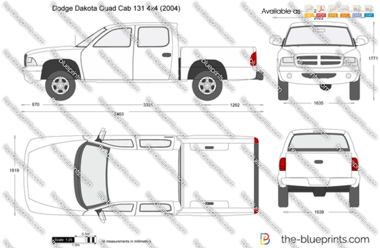 Dodge Dakota Quad Cab 131 4x4 Vector Drawing