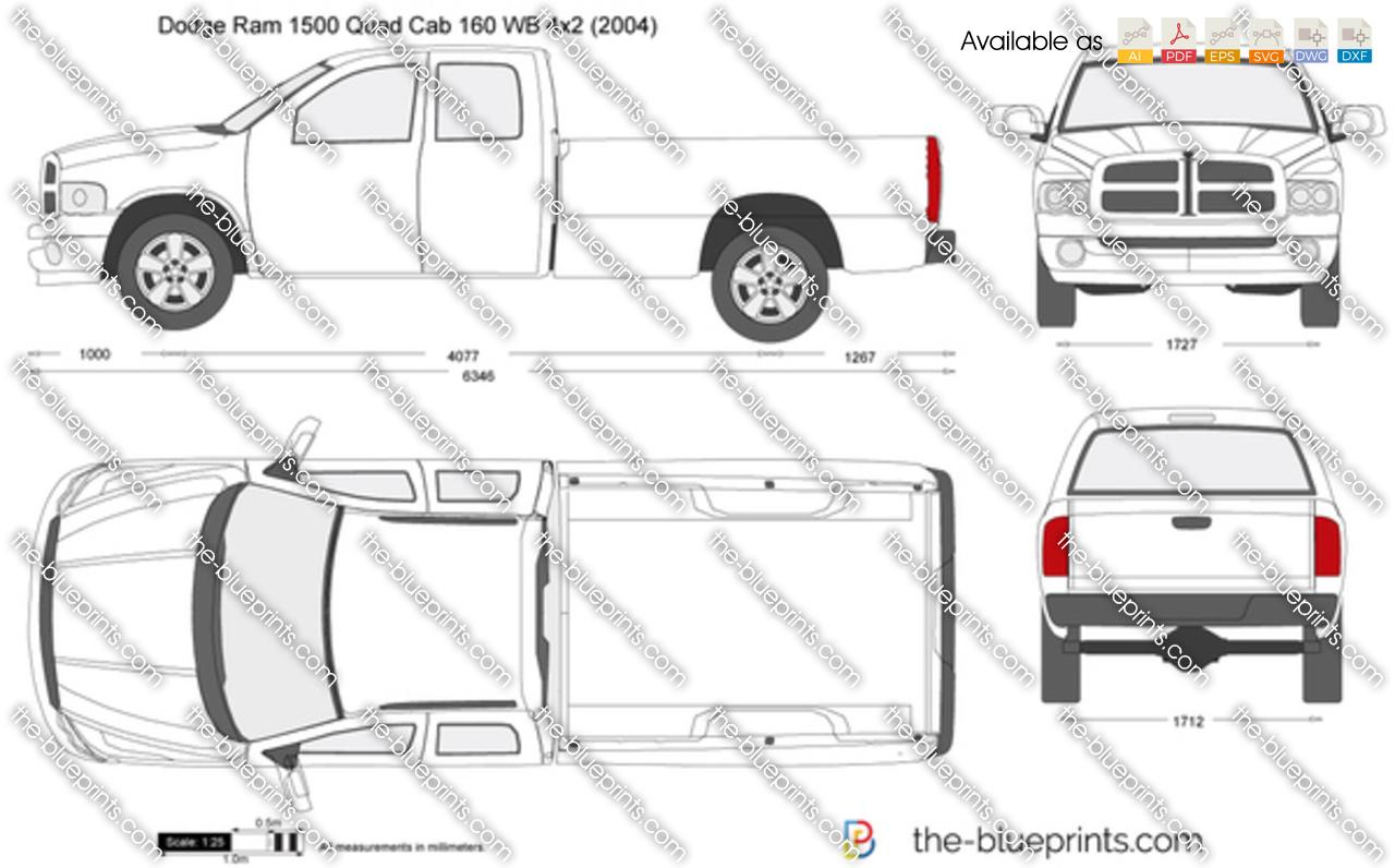 Dodge Ram Quad Cab 160 Wb 4x2 Vector Drawing