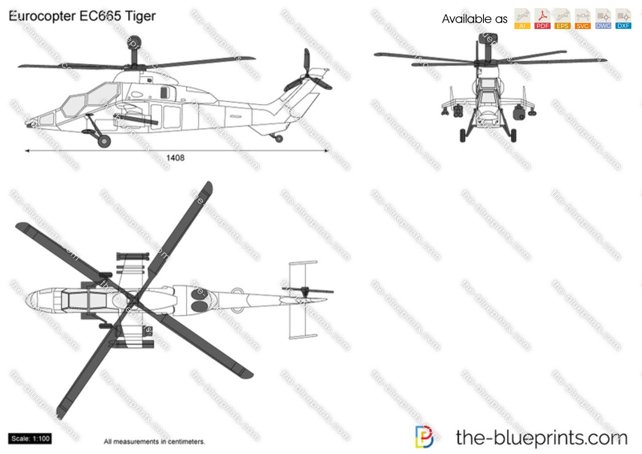 Eurocopter Ec665 Tiger Vector Drawing
