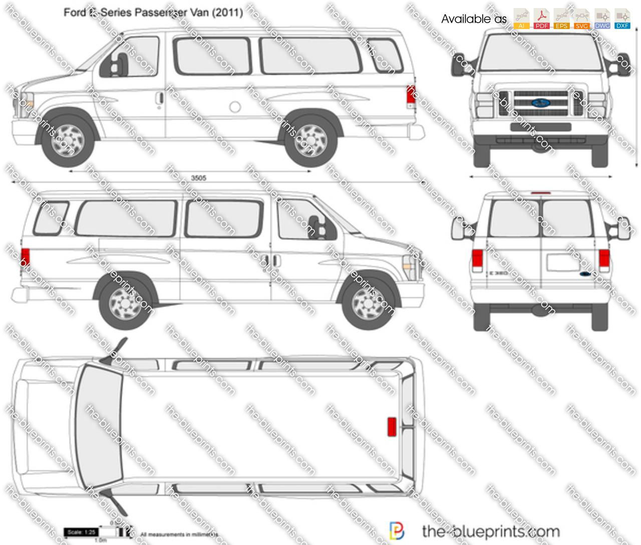 Ford E Series Passenger Van Vector Drawing