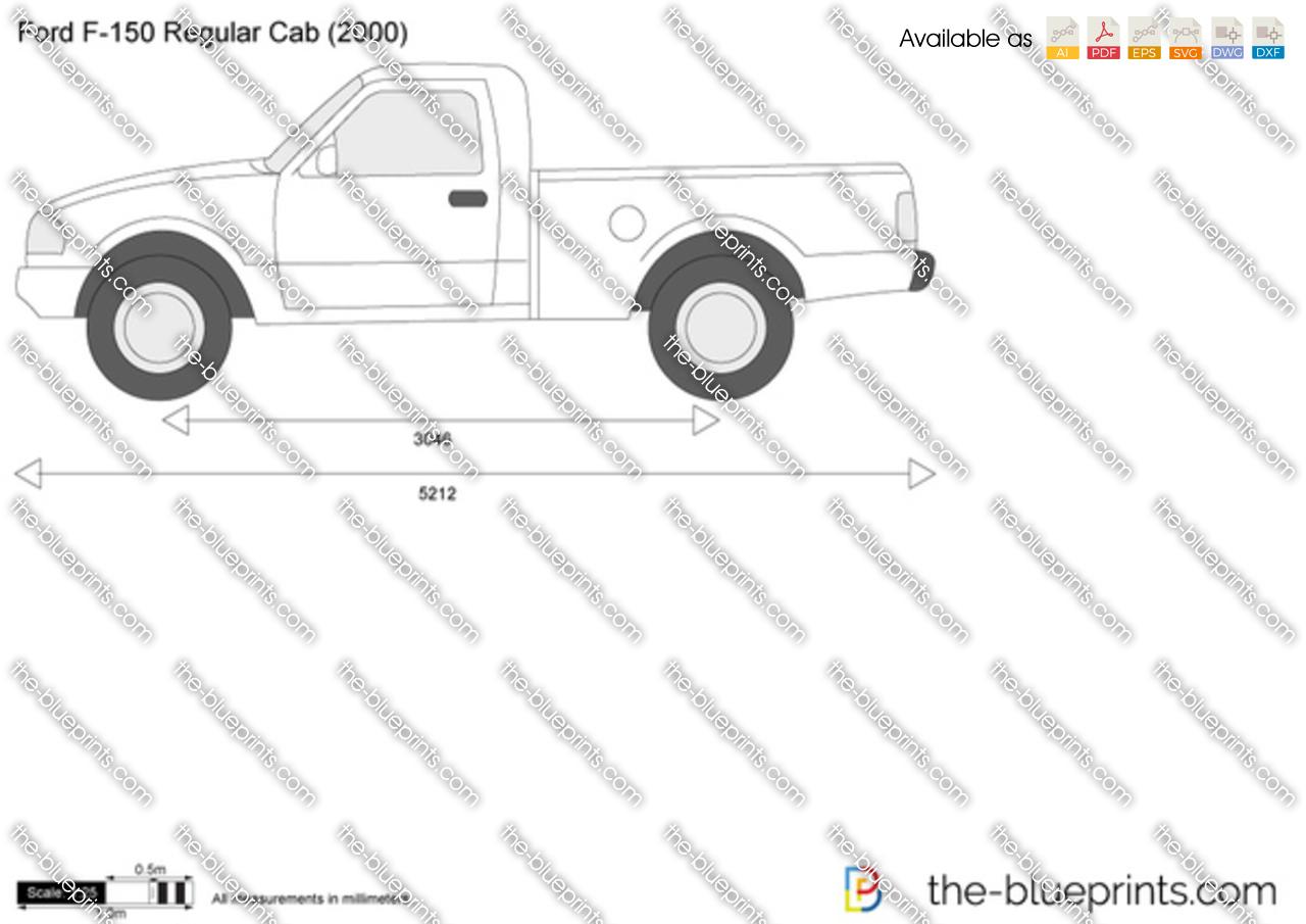 Ford F 150 Regular Cab Vector Drawing