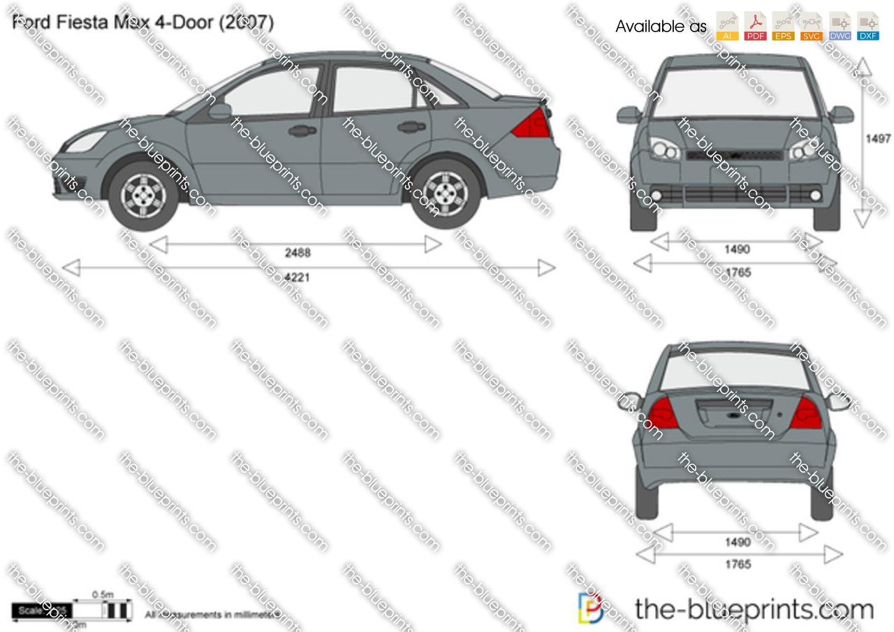 Ford Fiesta Max 4 Door Vector Drawing