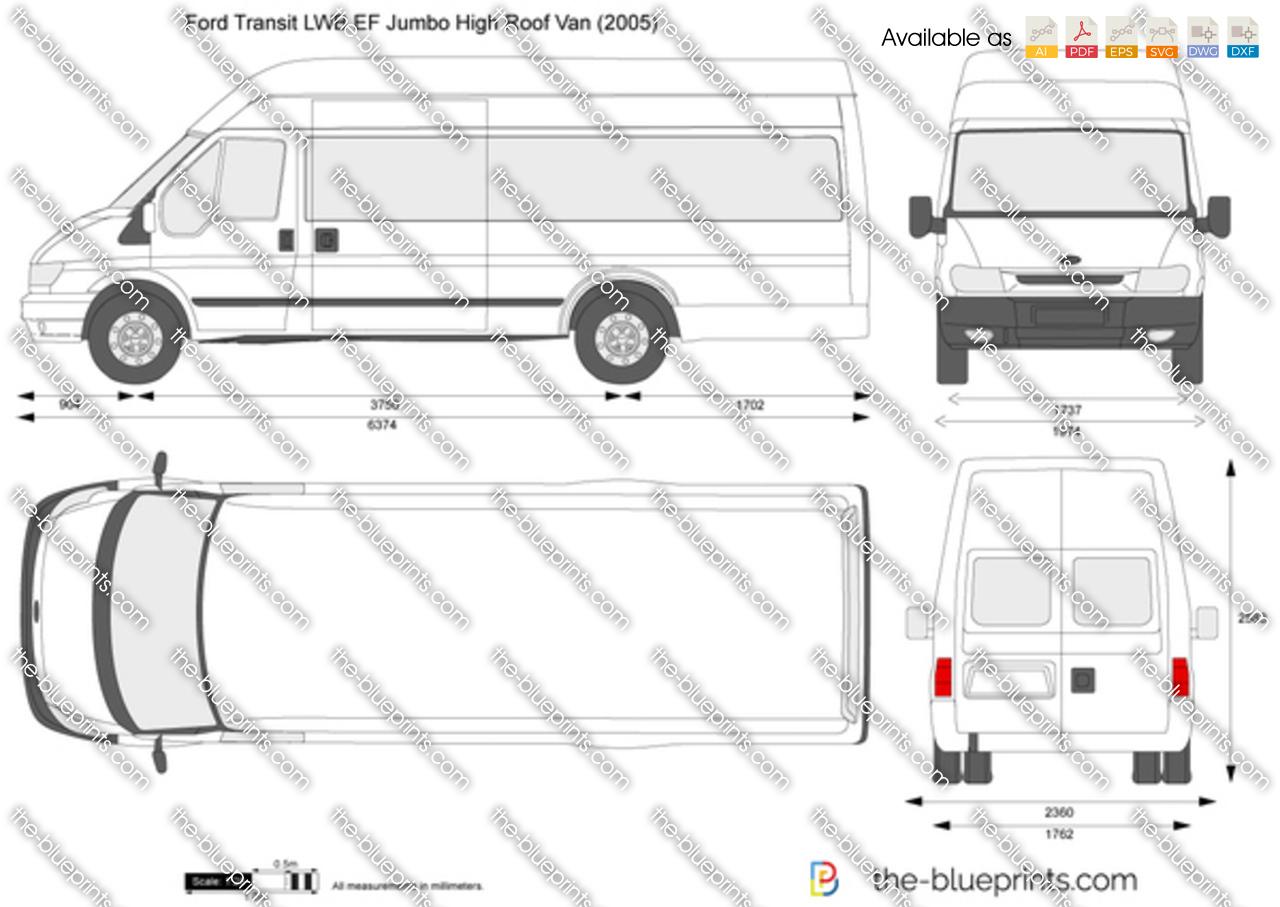 Ford Transit Lwb Ef Jumbo High Roof Van Vector Drawing