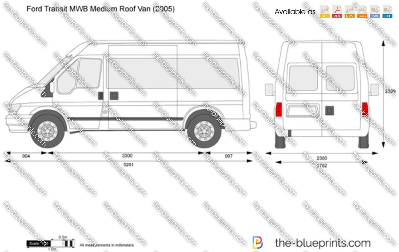 Ford Transit Mwb Medium Roof Van Vector Drawing