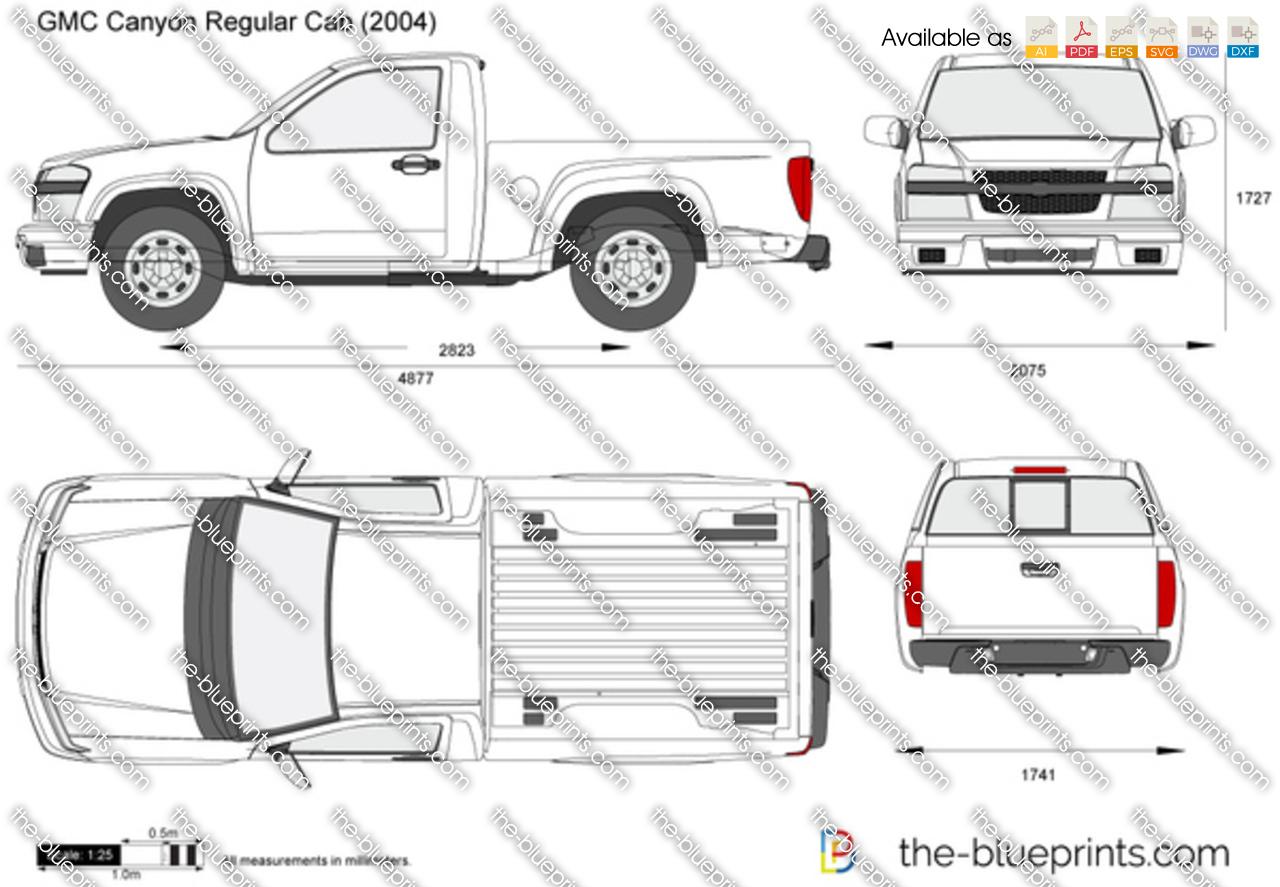 Gmc Canyon Regular Cab Vector Drawing