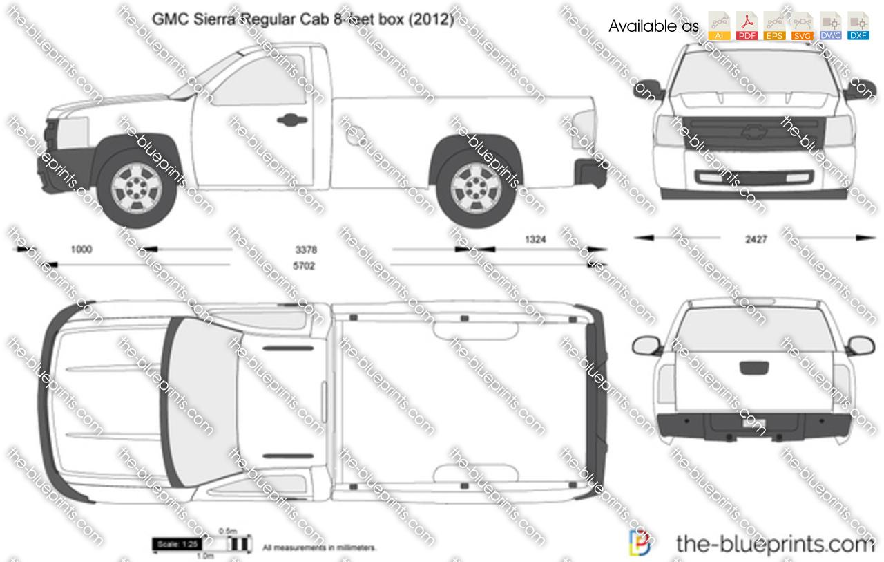Gmc Sierra Regular Cab 8 Feet Box Vector Drawing