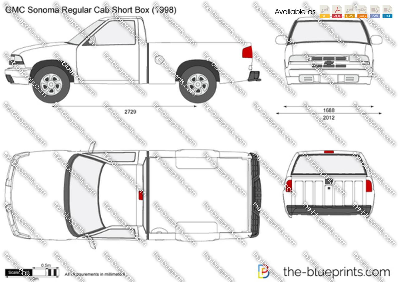 Gmc Sonoma Regular Cab Short Box Vector Drawing