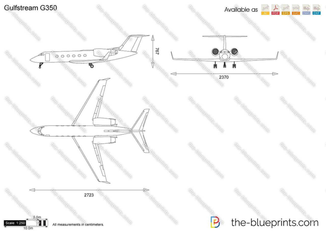 Gulfstream G350 Vector Drawing