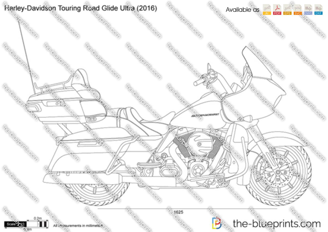 Harley Davidson Touring Road Glide Ultra Vector Drawing