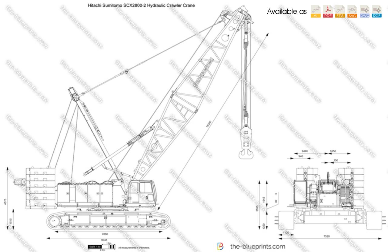 Hitachi Sumitomo Scx 2 Hydraulic Crawler Crane Vector