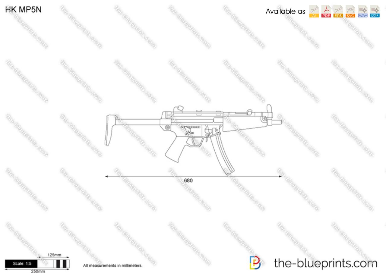 Hk Mp5n Vector Drawing