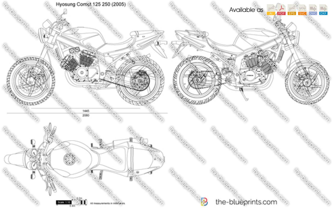 Hyosung Comet 125 250 Vector Drawing