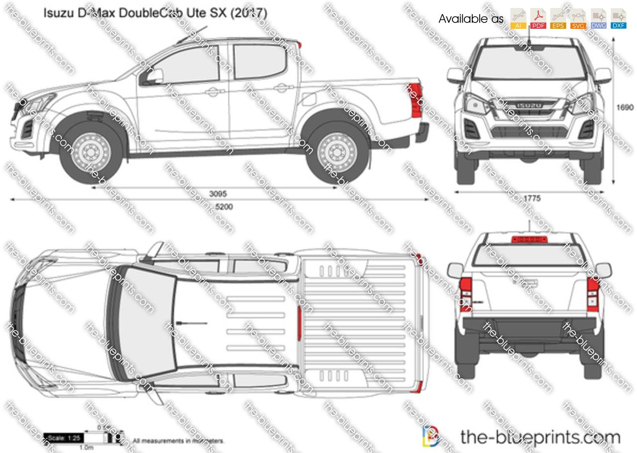 Isuzu D Max Double Cab Ute Sx Vector Drawing