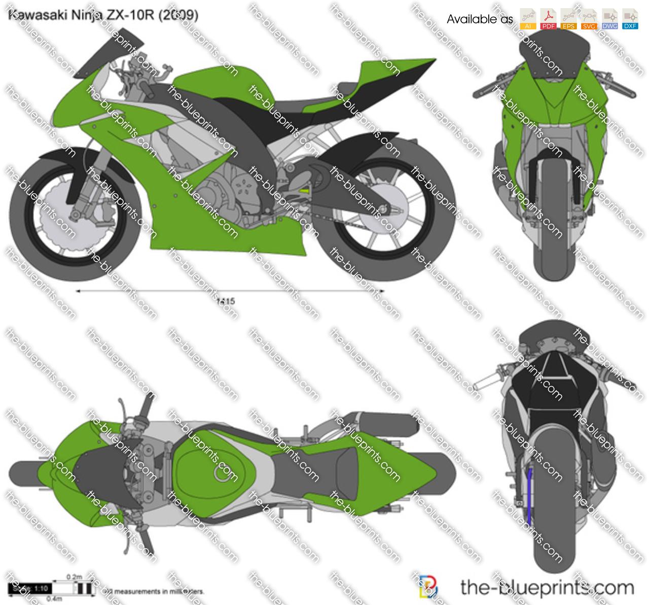 Kawasaki Ninja Zx 10r Vector Drawing