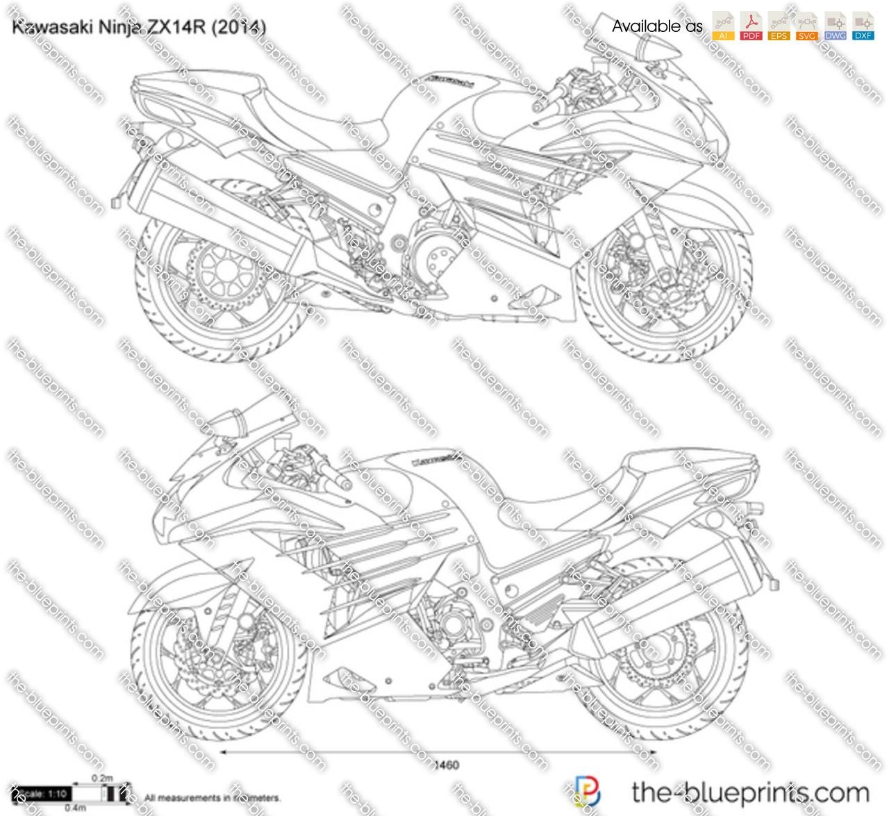 Kawasaki Ninja Zx14r Vector Drawing