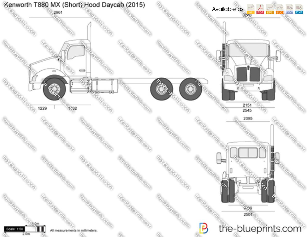 Kenworth T880 Mx Short Hood Daycab Vector Drawing