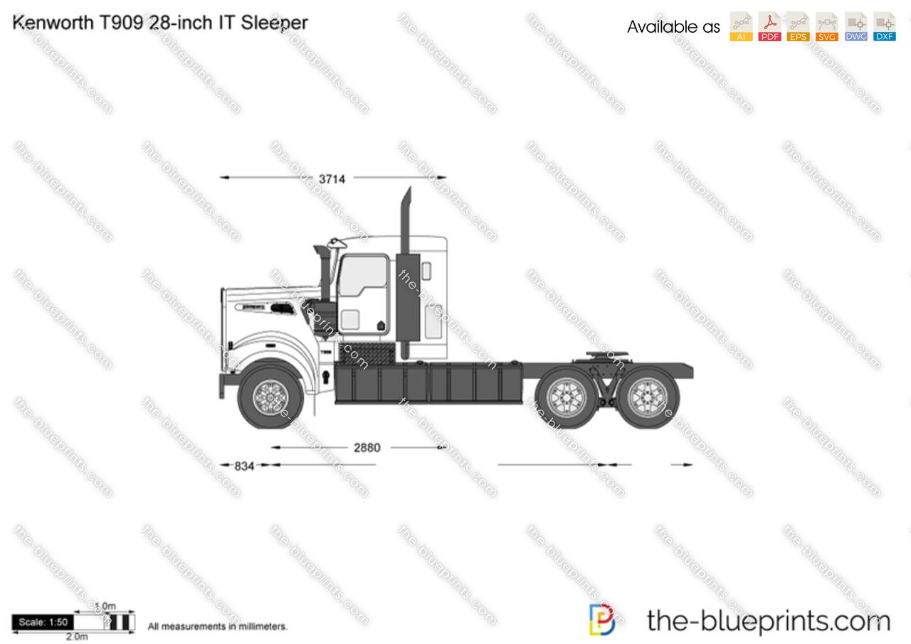 Kenworth T909 28 Inch It Sleeper Vector Drawing