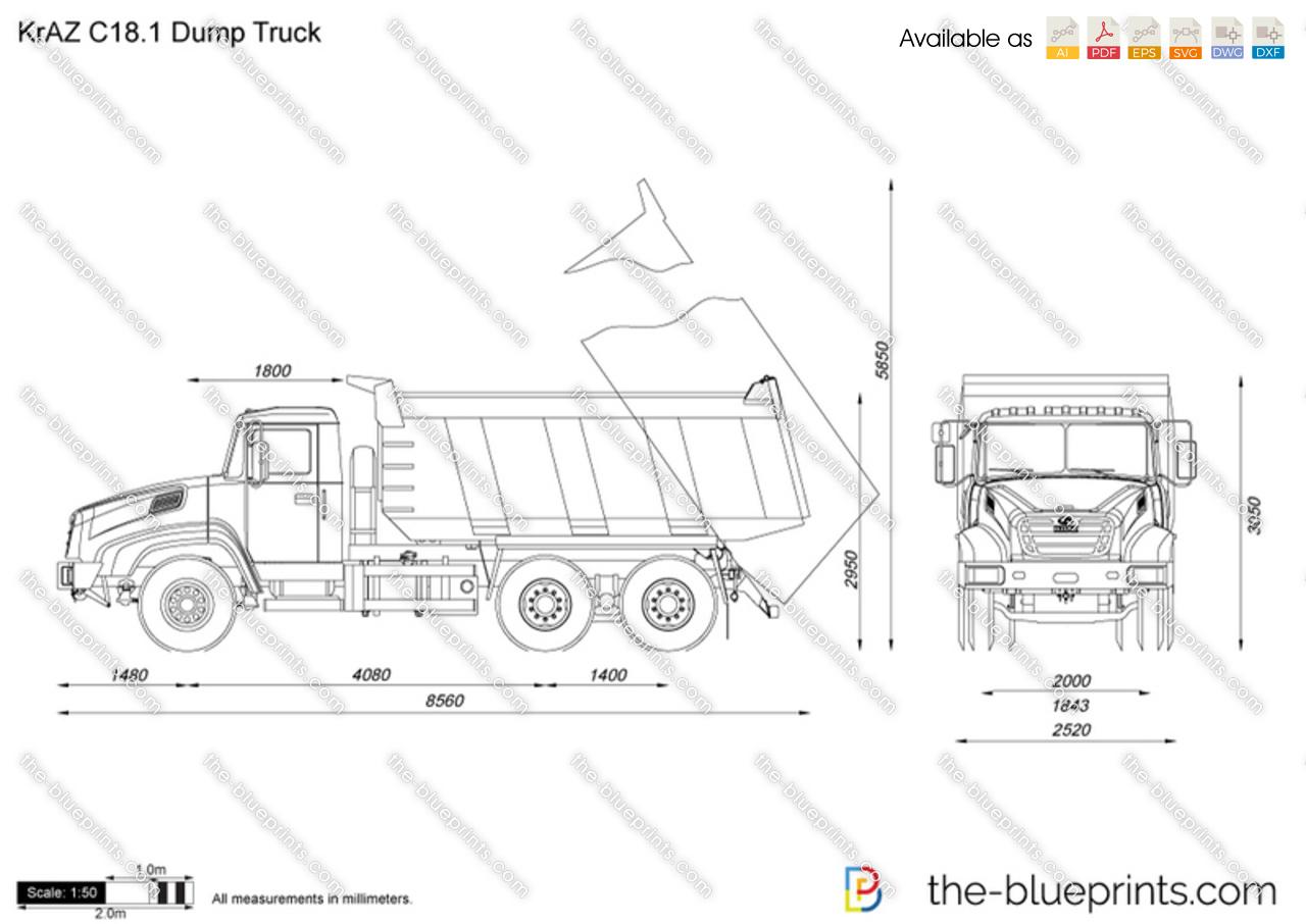 Kraz C18 1 Dump Truck Vector Drawing