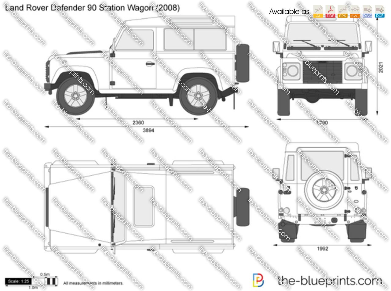 Land Rover Defender 90 Station Wagon Vector Drawing