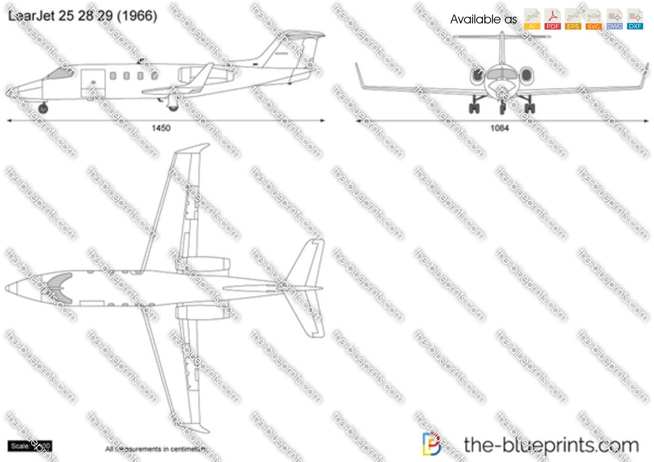 Learjet 25 28 29 Vector Drawing