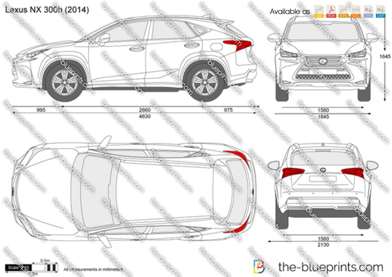 Lexus Nx 300h Vector Drawing