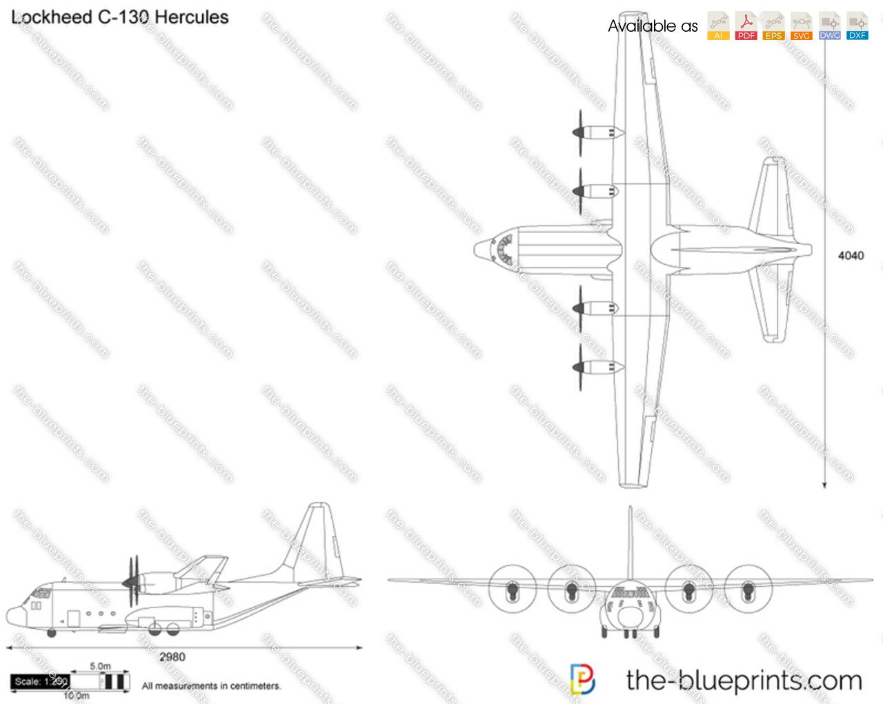 Lockheed C 130 Hercules Vector Drawing