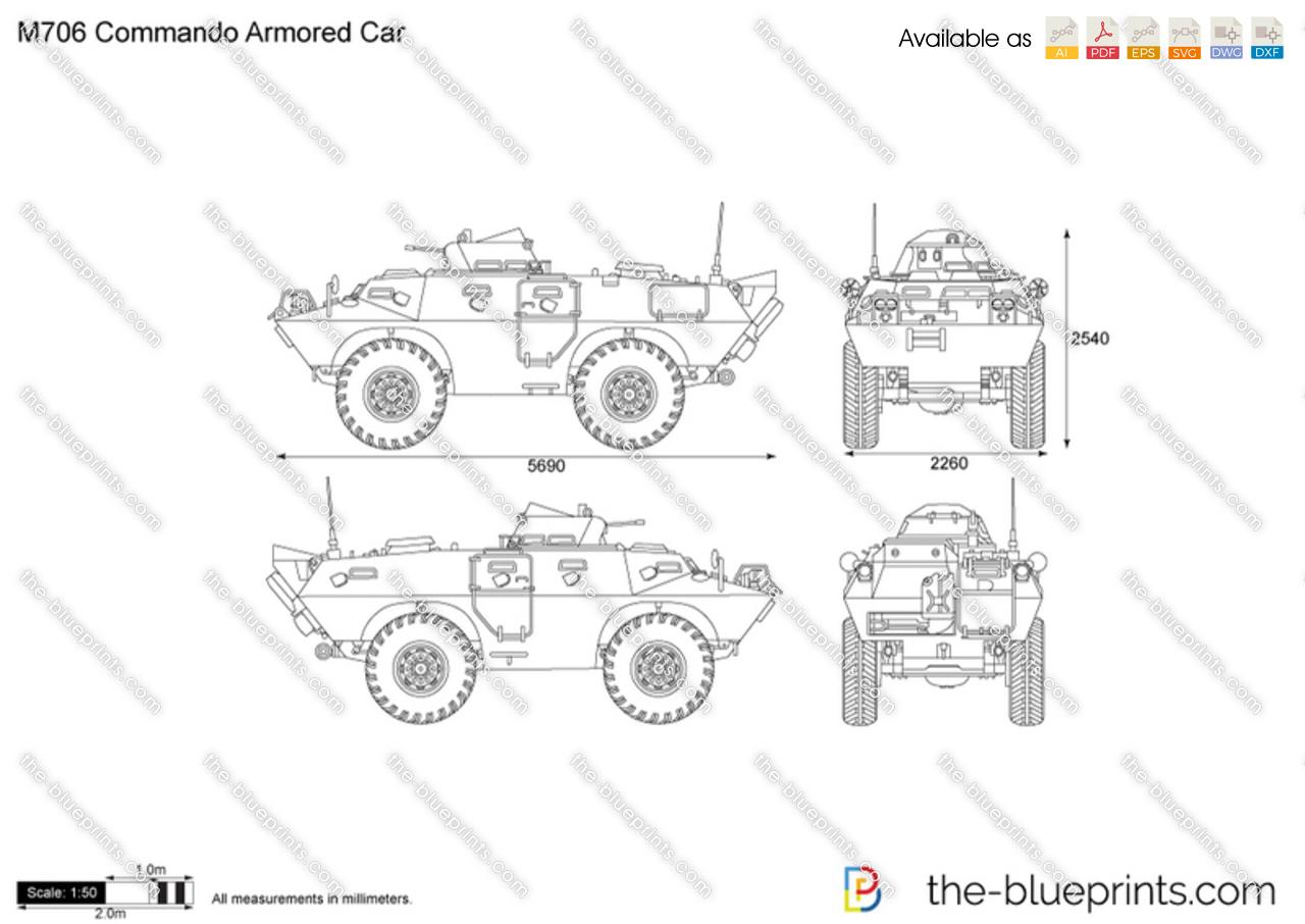 M706 Commando Armored Car Vector Drawing