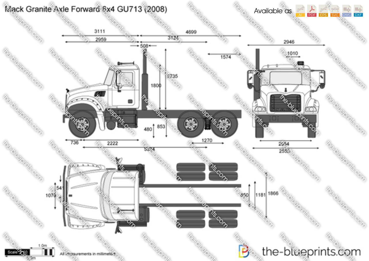 Mack Granite Axle Forward 6x4 Gu713 Vector Drawing