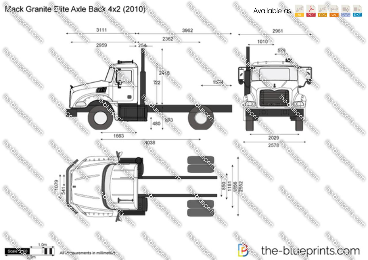 Mack Granite Elite Axle Back 4x2 Vector Drawing
